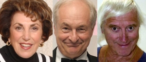 "Edwina Currie (left) & Paul Gambaccini (centre) - proponents of the ""he groomed a nation"" argument. They both knew Savile (right) in a professional capacity."