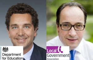 Edward Timpson MP, Children's Minister and Sir Merrick Cockell, LGA Chairman