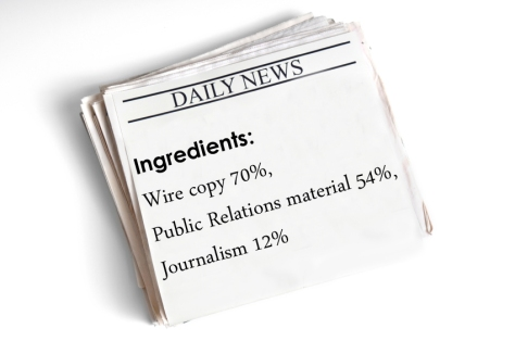 The ingredients of news: 70% Wire copy, 54% Public Relation material, 12% journalism