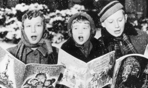 Carol singers in the snow