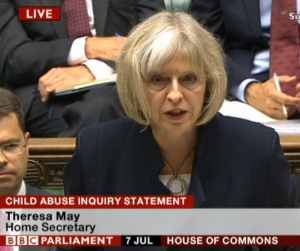 Theresa May announcing the child abuse inquiry