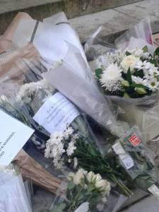 Photo of white flowers, The 3rd White Flowers Campaign Vigil, opposite Parliament.