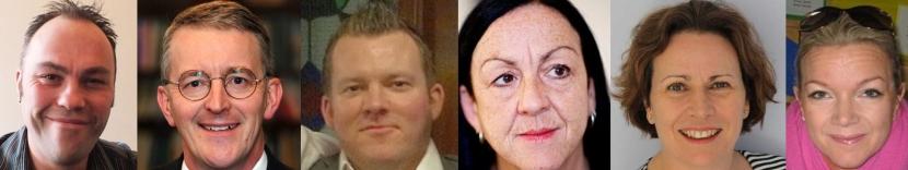 Leeds Central MP candidates for the 2015 General Election. L to R: Michael Hayton (Green), Hilary Benn (Labour), Luke Senior (UKIP), Liz Kitching (TUSC), Emma Spriggs (Lib Dem), Nicola Wilson (Conservative)